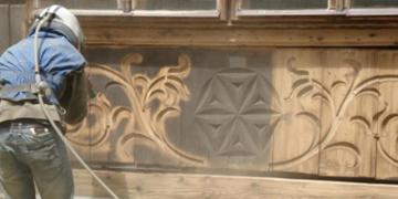 Пескоструйная очистка деревянных поверхностей